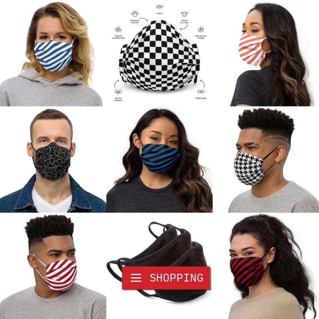 Designer Mundschutz Maske aus Microfaser, anpassbar an Nase und Ohren