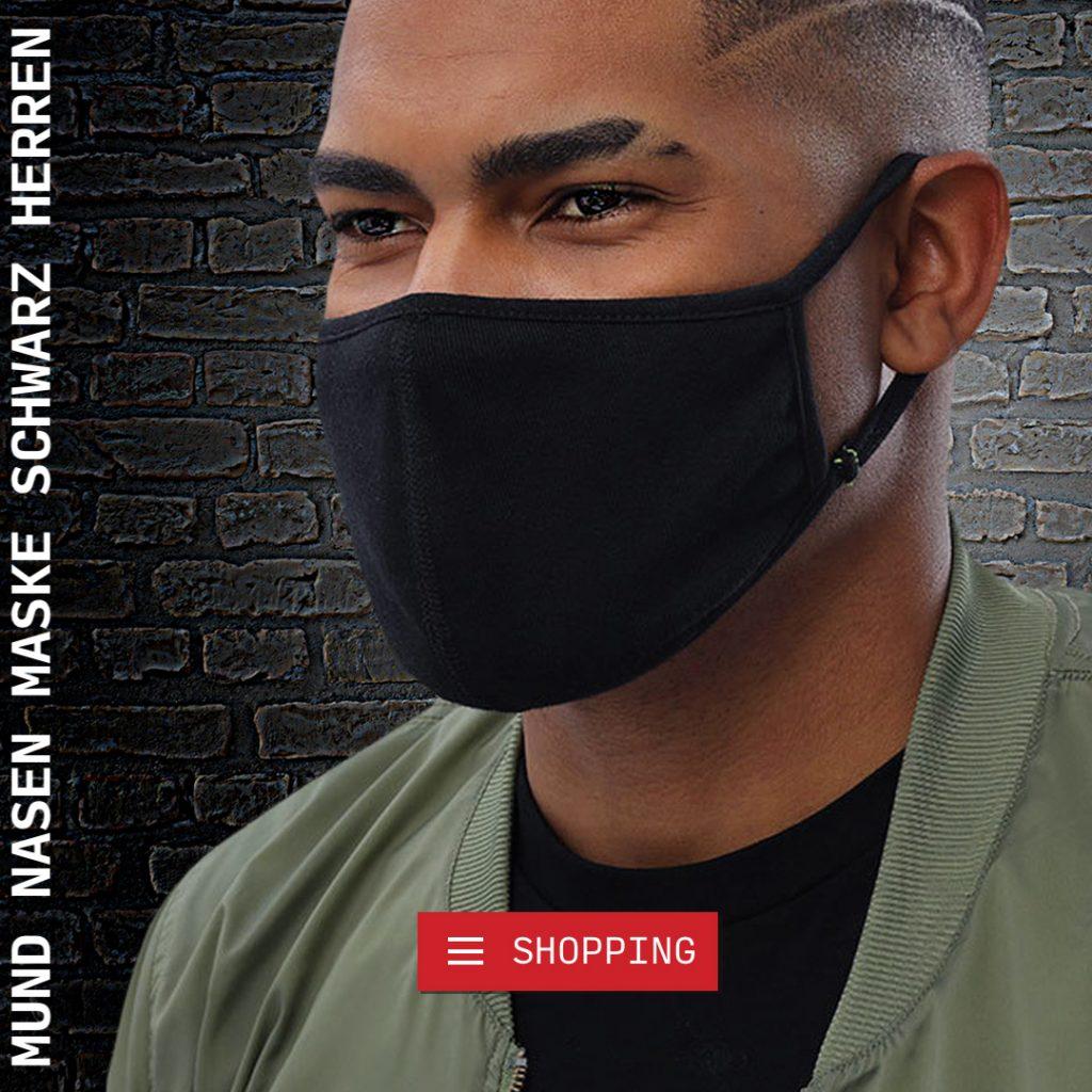 mundschutz maske schwarz herren groesse m mit biozid für hygiene und frische auf titanoxid und silberchloridbasis