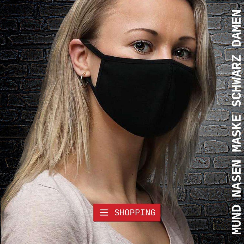 mundschutz maske schwarz damen groesse s mit biozid für hygiene und frische auf titanoxid und silberchloridbasis